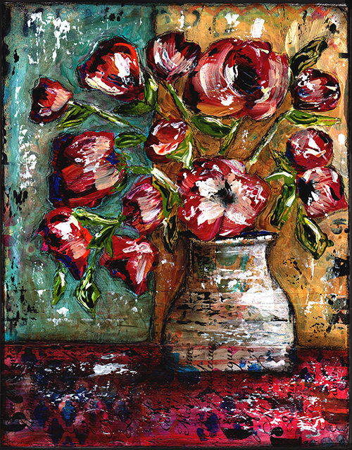 Grungy floral vintage block 11x14 original on wood