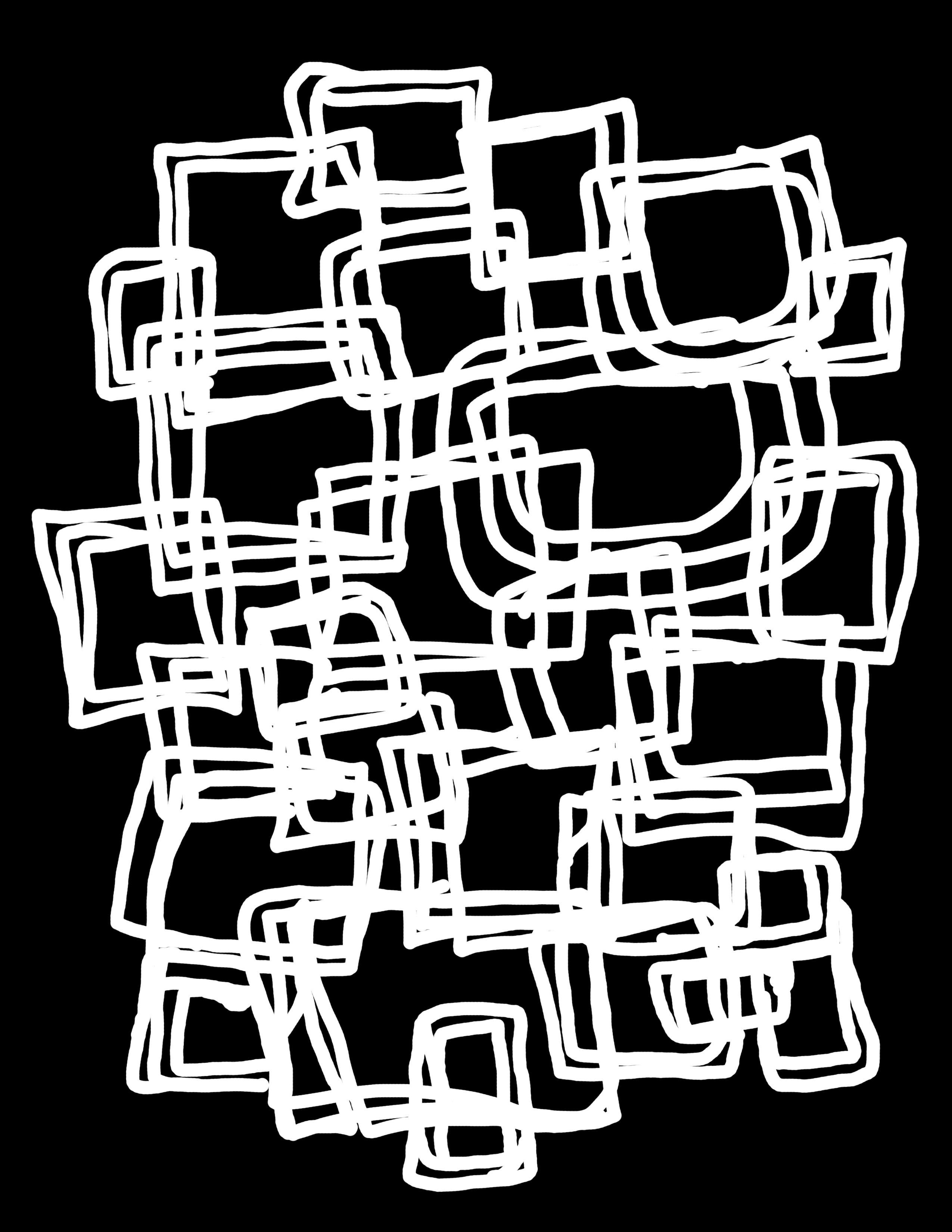 scribbles squares stencil mask 00990
