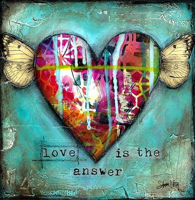 love is the answer original on wood 8x8