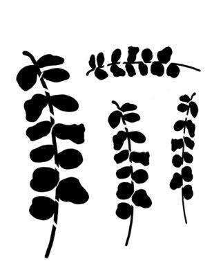 Eucalyptus branches stencil