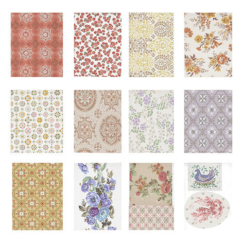 Vintage Wallpaper 3 collage pak 12 pages instant download