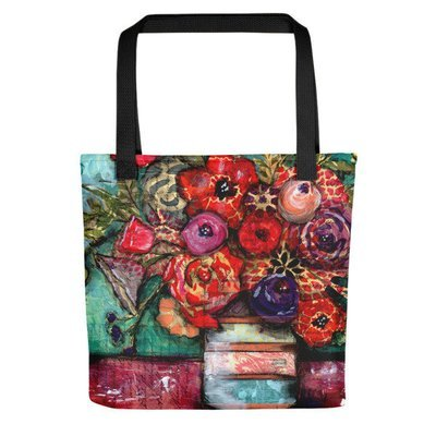 Tote bag bright flower vase