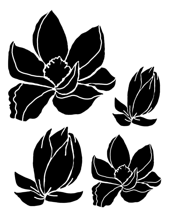 Magnolias 8x10 stencil