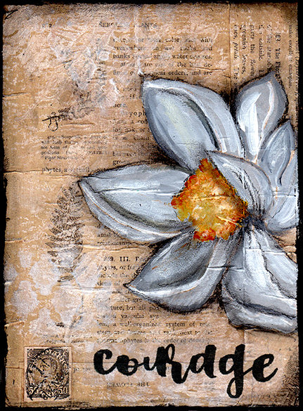 courage magnolia print of the original on wood
