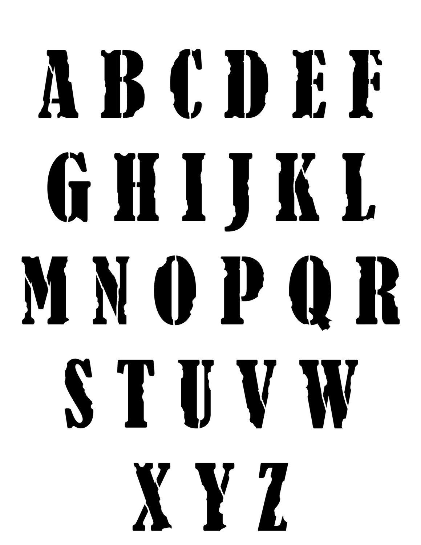 grunge font 8x10 stencil