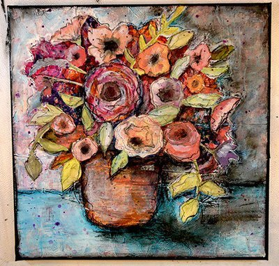 12x12 mixed media watercolor layers of collage original on canvas