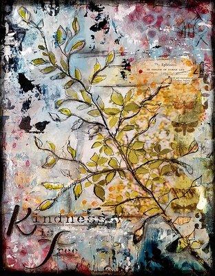 Kindness is free 11x14 mixed media original art