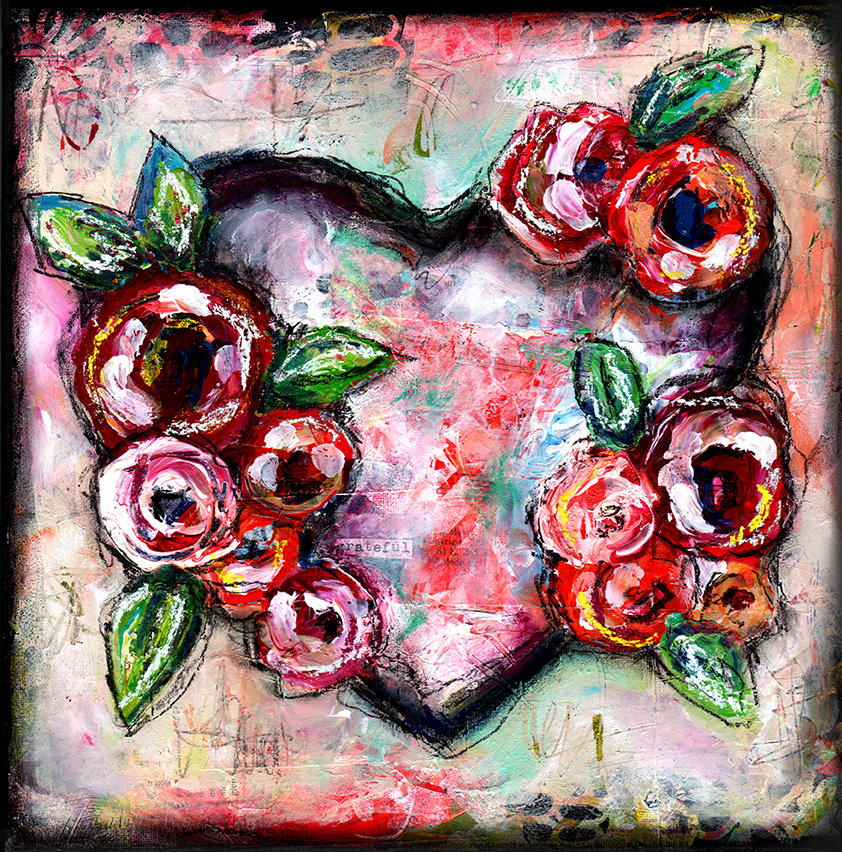 Grateful heart mixed media original 12x12 canvas