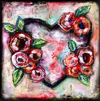 Grateful heart mixed media original 12x12 canvas