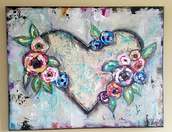 Wild heart mixed media original on canvas 22x28