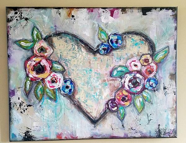 """Wild heart"" mixed media original on canvas 22x28"
