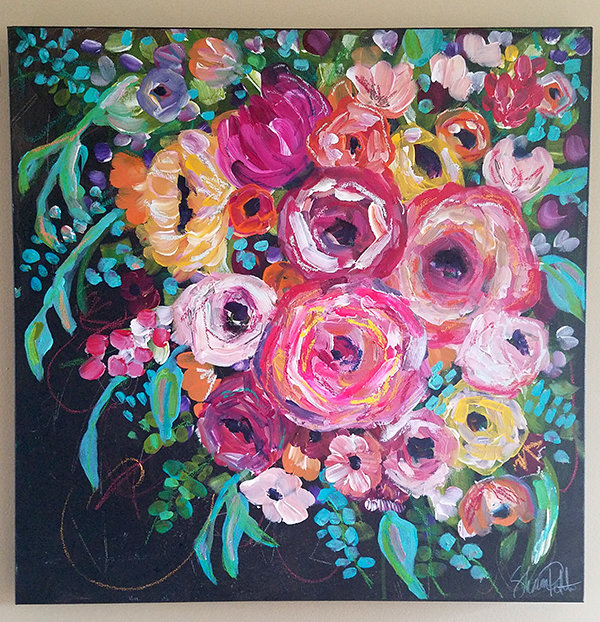 Happy flowers 24x24 mixed media original on canvas