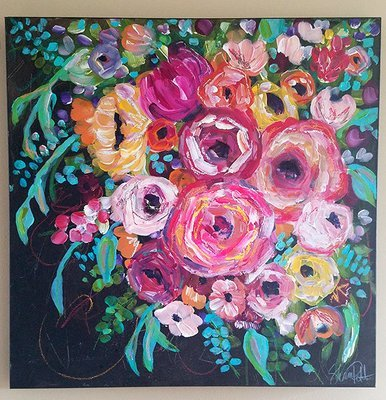 Happy flowers 24x24 mixed media original on canvas