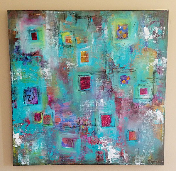 """Boxed in"" mixed media abstract 24x24"