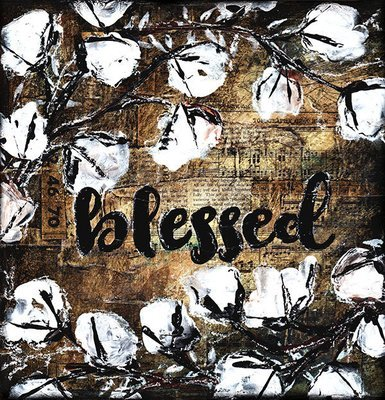 Blessed rustic cotton 12x12 original on wood