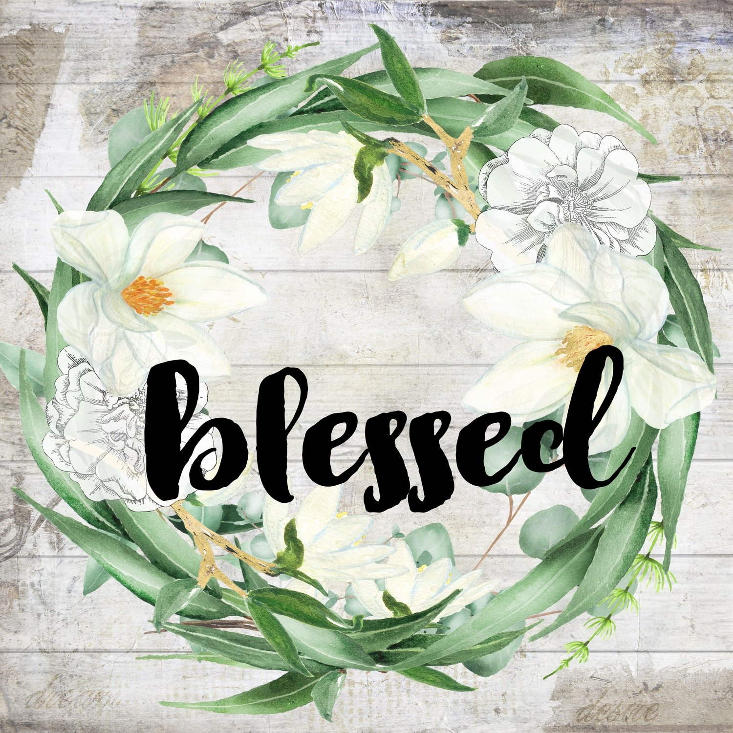 """Blessed"" eucalyptus wreath, Print on Wood and Print to be Framed"