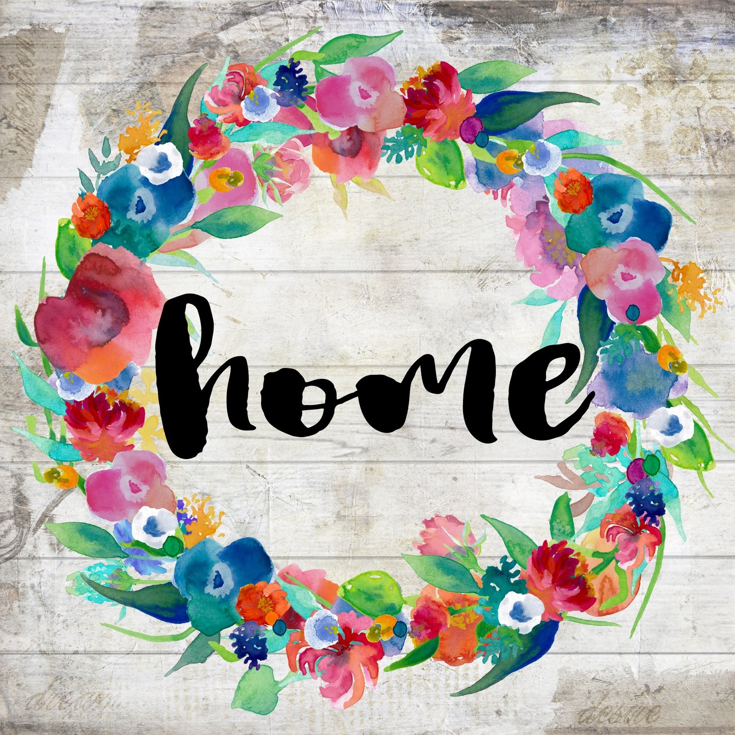 """Home"" bright flower wreath"