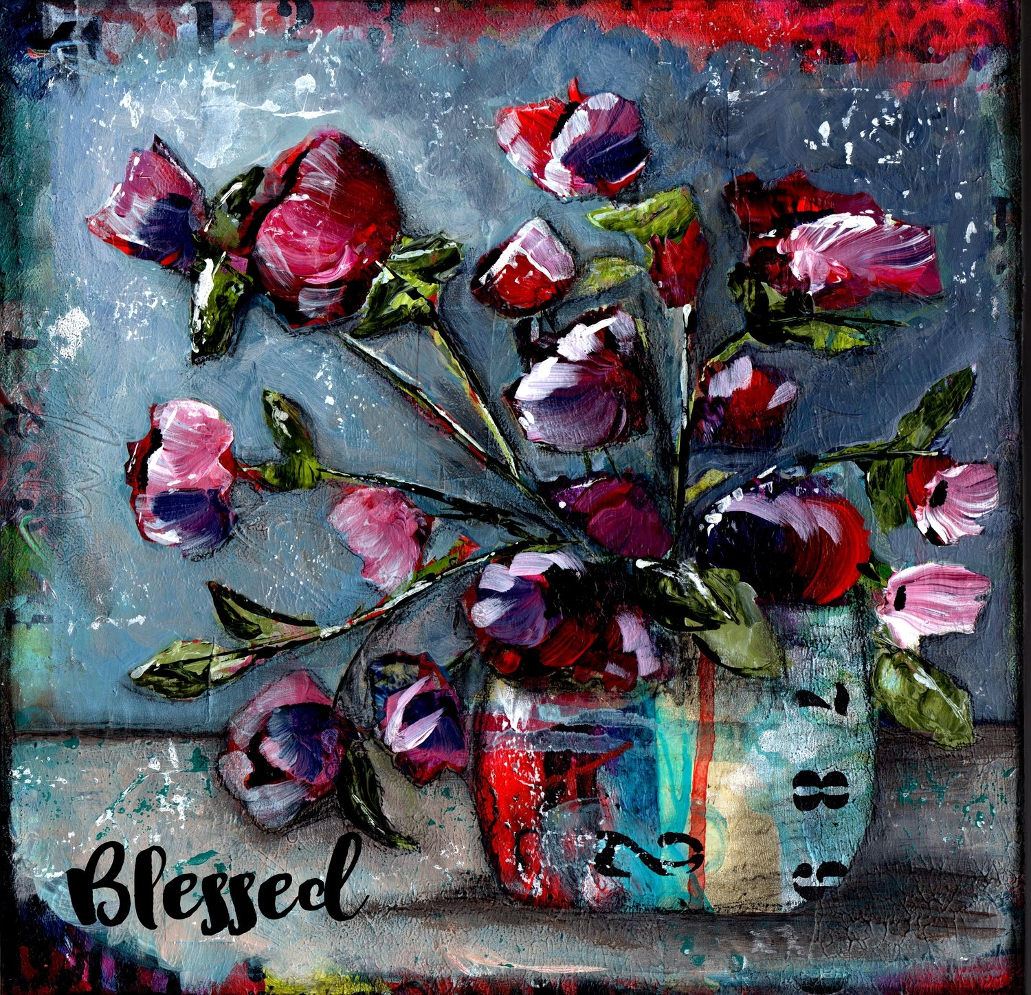 Blessed grungy floral print on wood