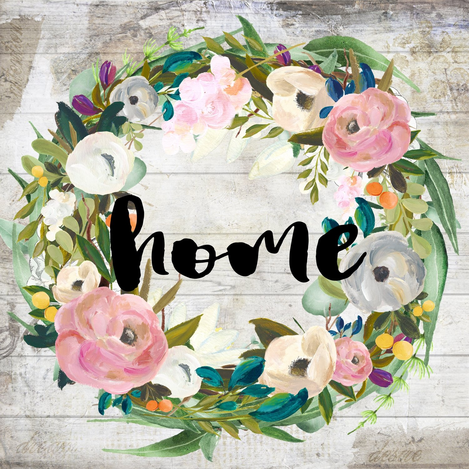 """Home"" muted flower wreath"