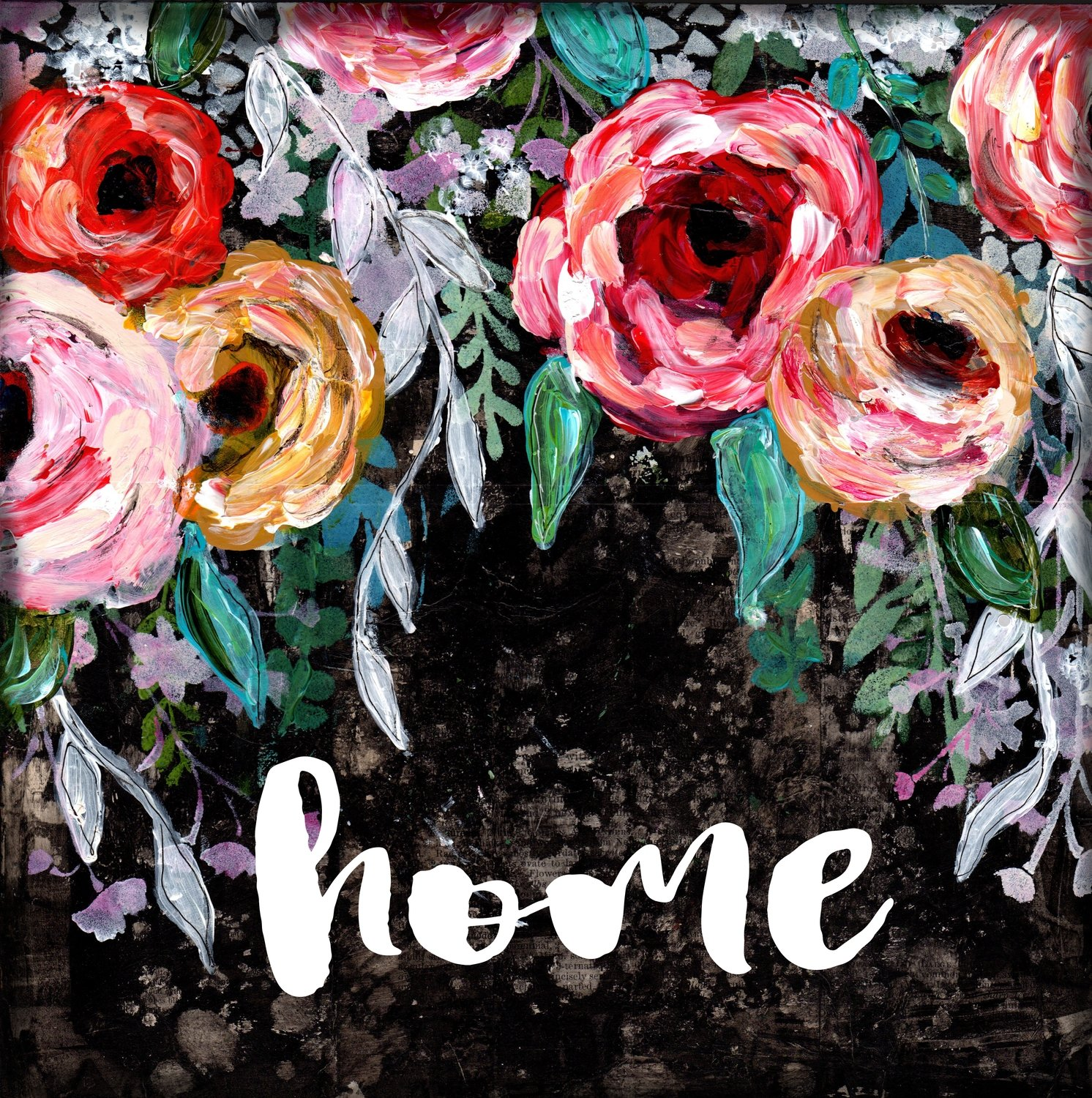 Home bright flower black background print on wood