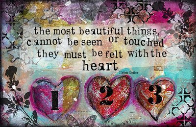 The most beautiful thing felt w/ the heart print on wood