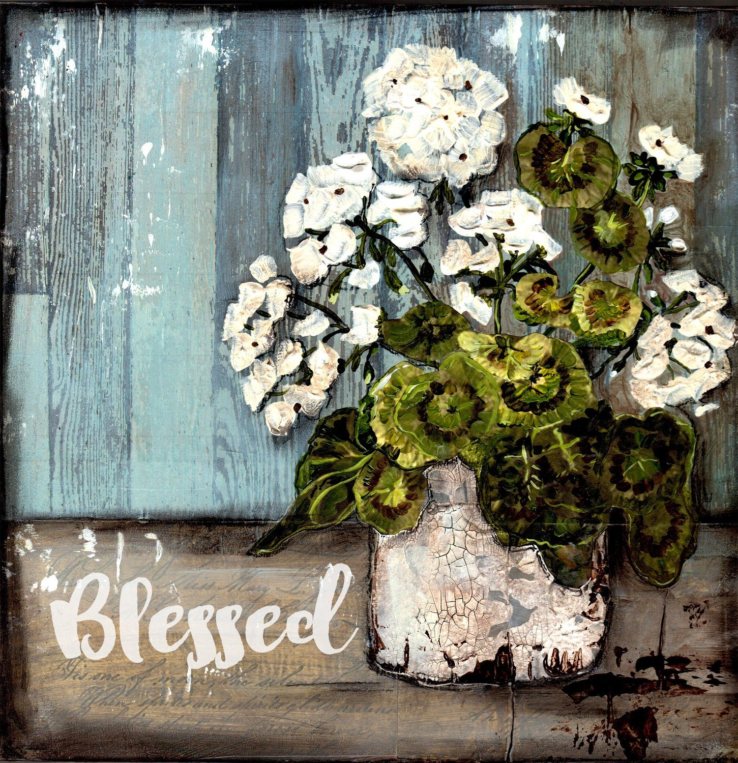 """Blessed"" white geranium, Print on Wood and Print to be Framed"