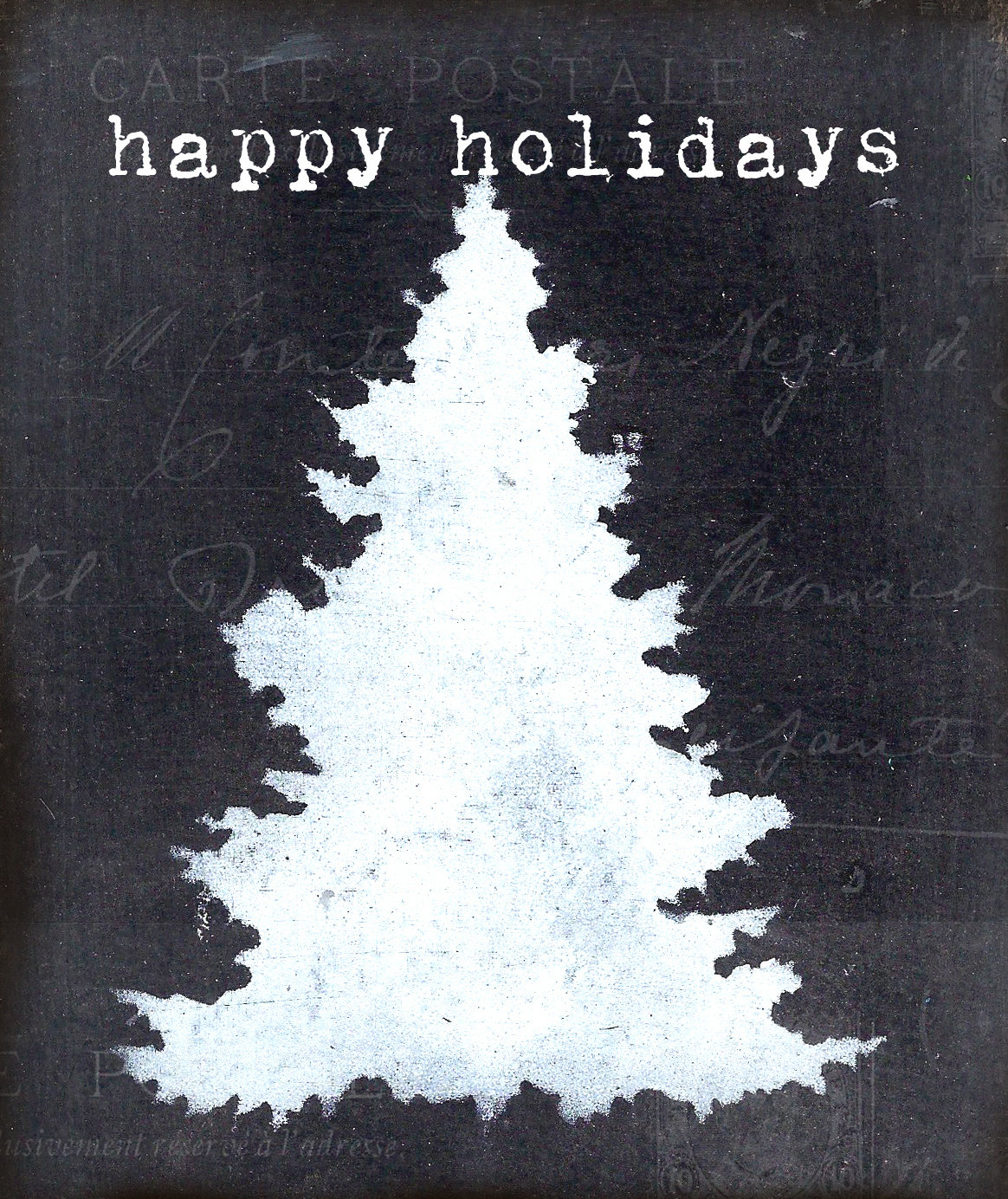 Black and White Happy Holidays Christmas tree 4x6 print on wood