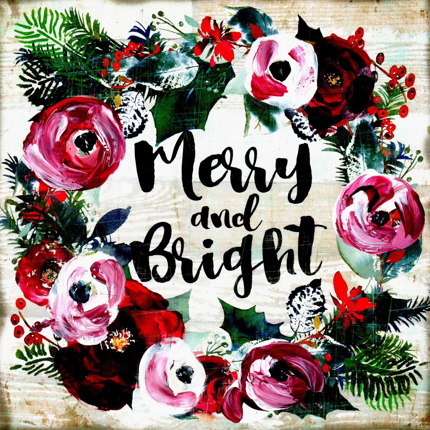 """Merry and Bright"" Christmas wreath"