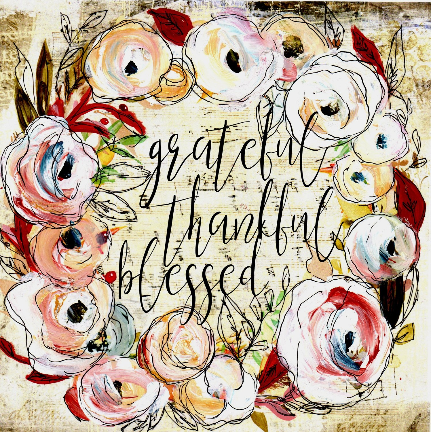 """Grateful Thankful Blessed"" wreathe"