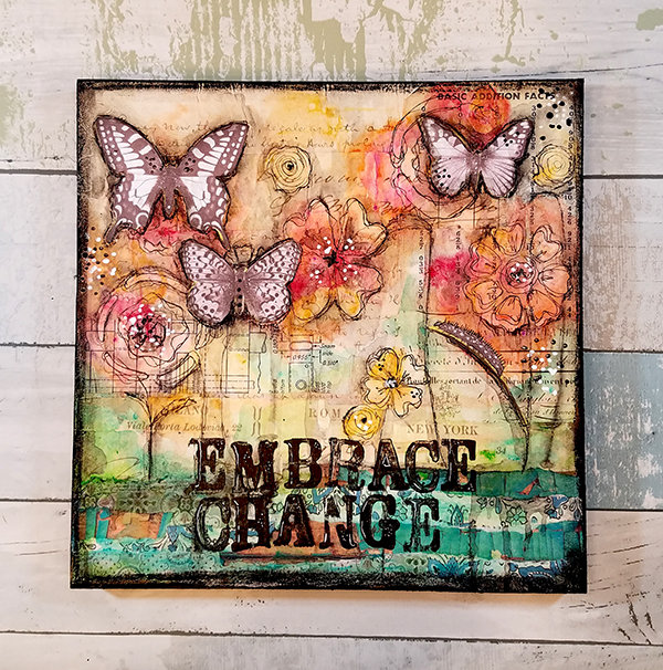 Embrace change 10x10 mixed media original on wood