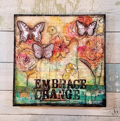 Embrace change print of the original on wood