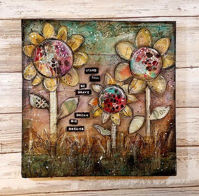 Dream big Dreams 10x10 mixed media original on wood