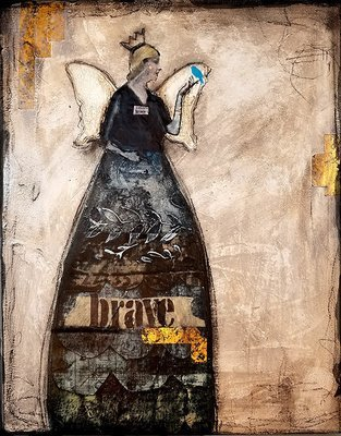 Bravery with grace mixed media original 11x14