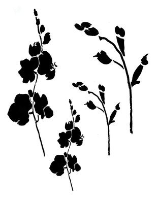 Flowers silhouette 1 stencil