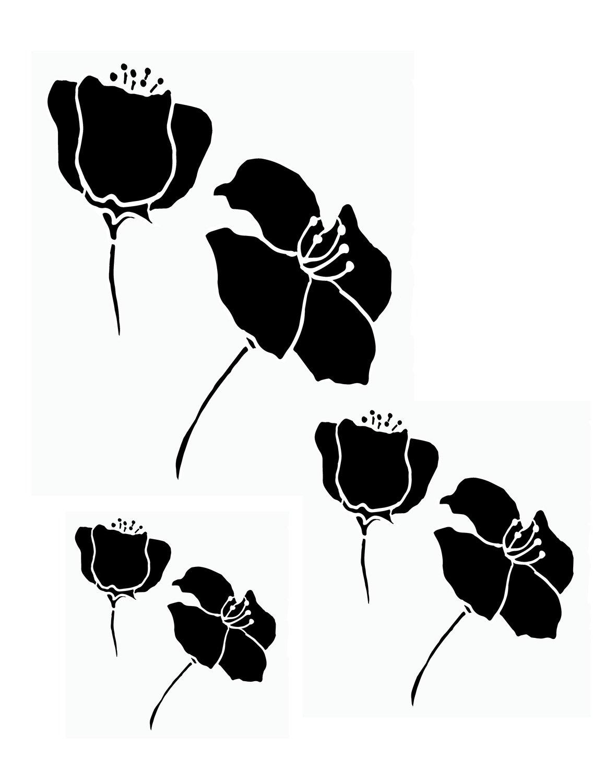 Flower silhouette 2 stencil