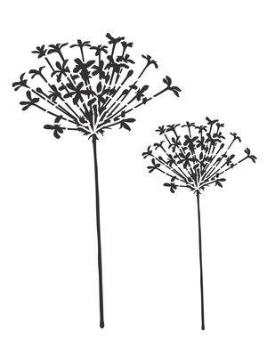 Flower silhouette 3 stencil