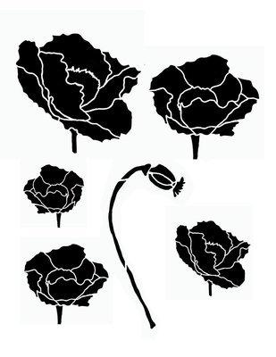 Flower silhouette 5 stencil