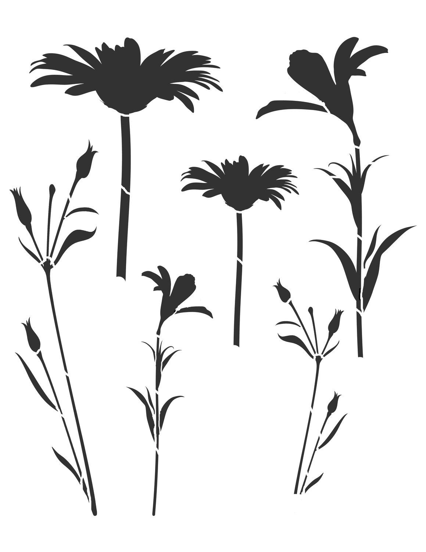 Flower silhouette 6 stencil