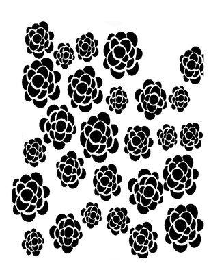 Pattern 5 flowers stencil