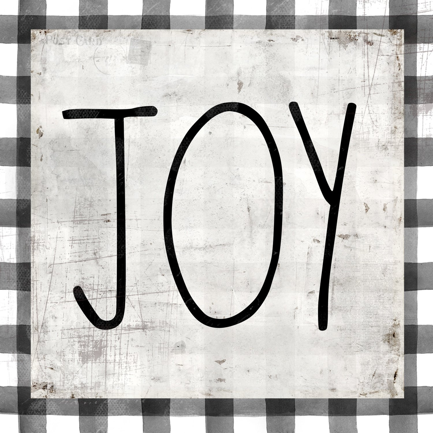 """Joy"" black and white plaid"
