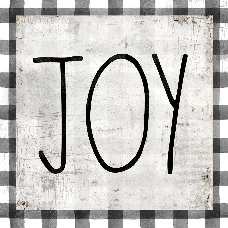Joy black and white plaid print of the original on wood