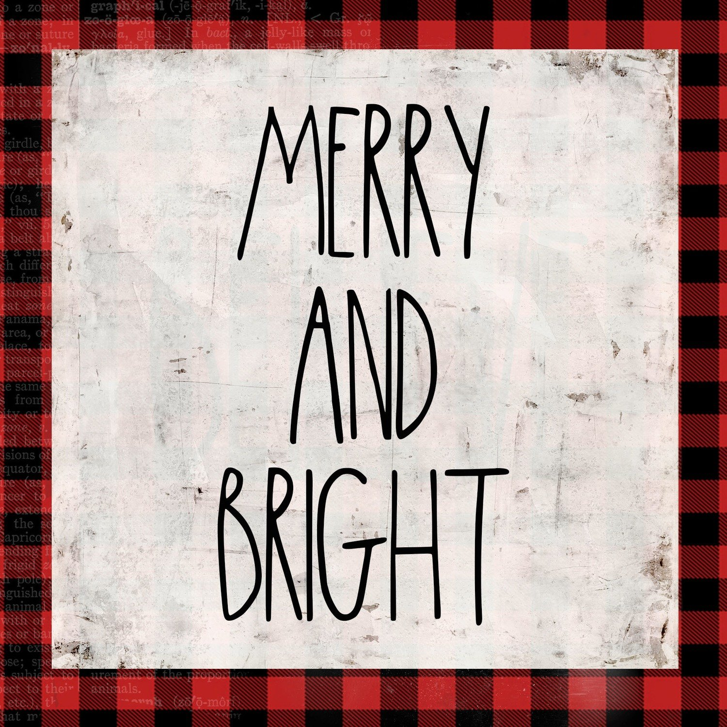 """Merry & Bright"" red plaid, Print on Wood and Print to be Framed"