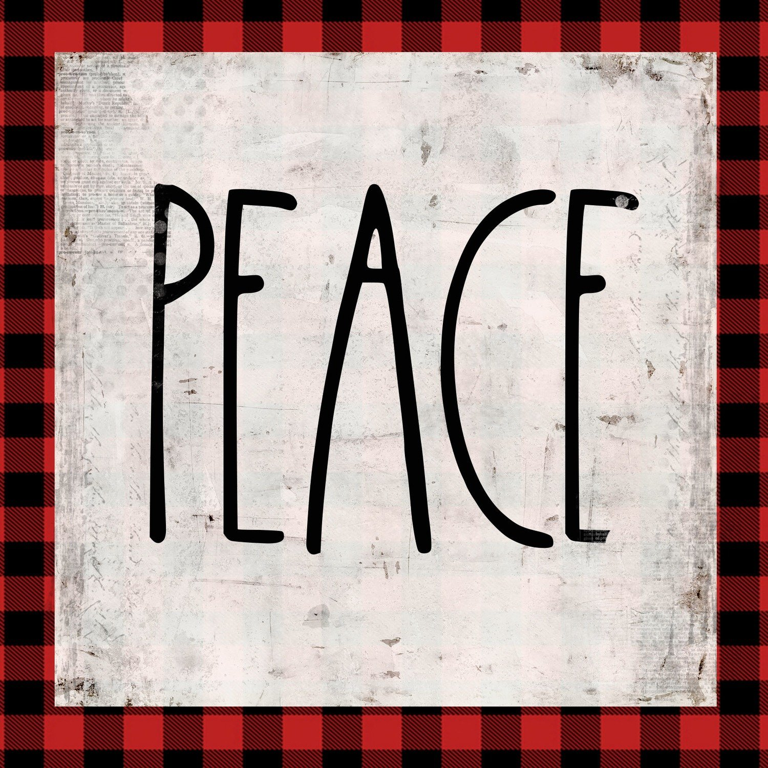 """Peace"" red plaid"