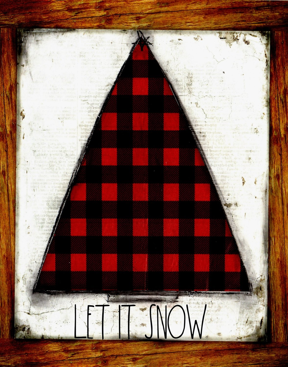 """Let it Snow"" red plaid Christmas tree"