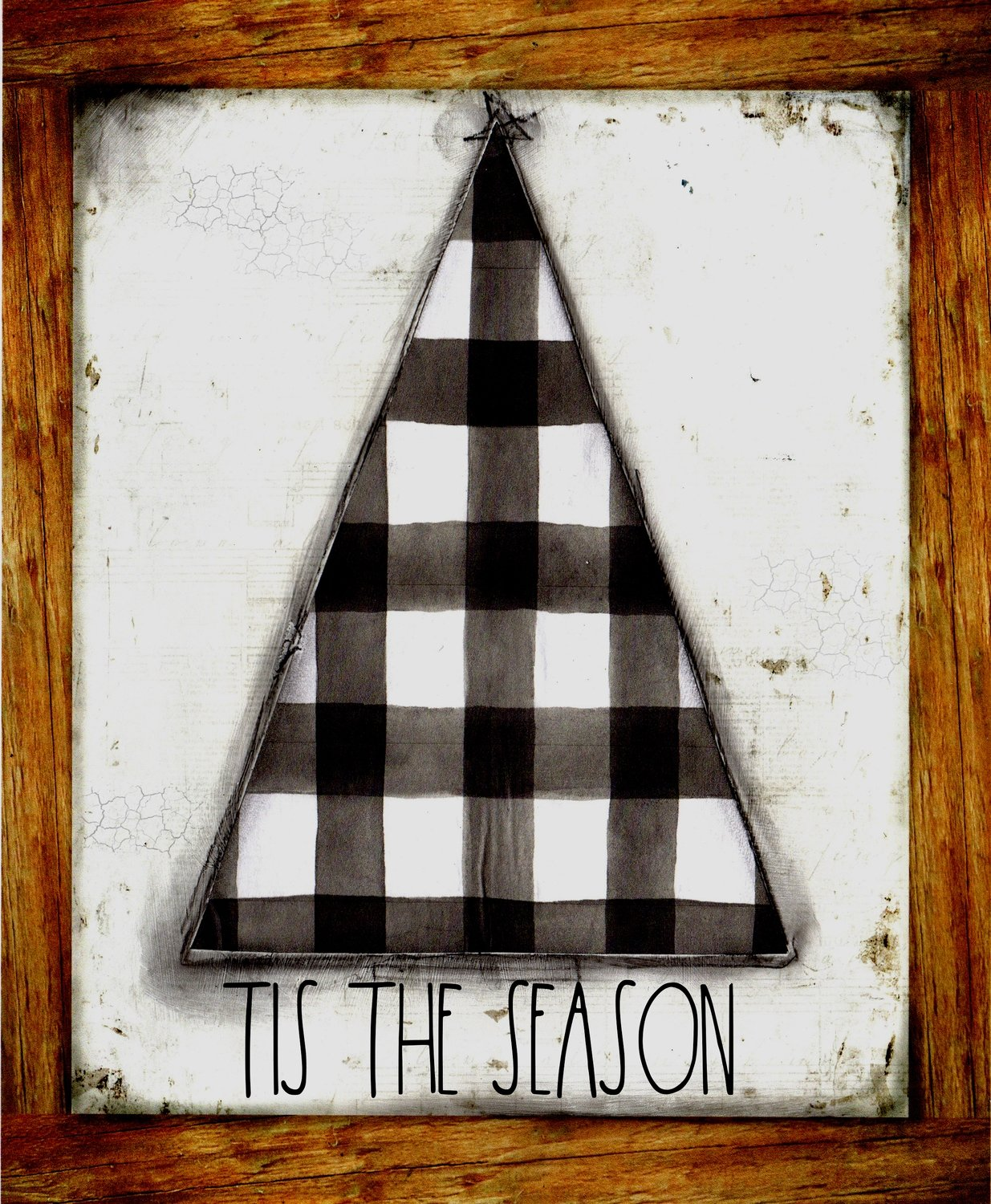 """Tis the Season"" black plaid Christmas Tree"
