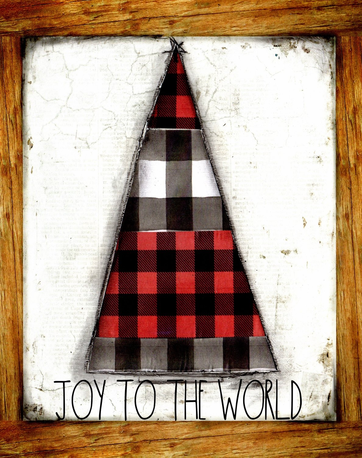 Joy to the world black and red plaid Christmas tree print of the original print on wood