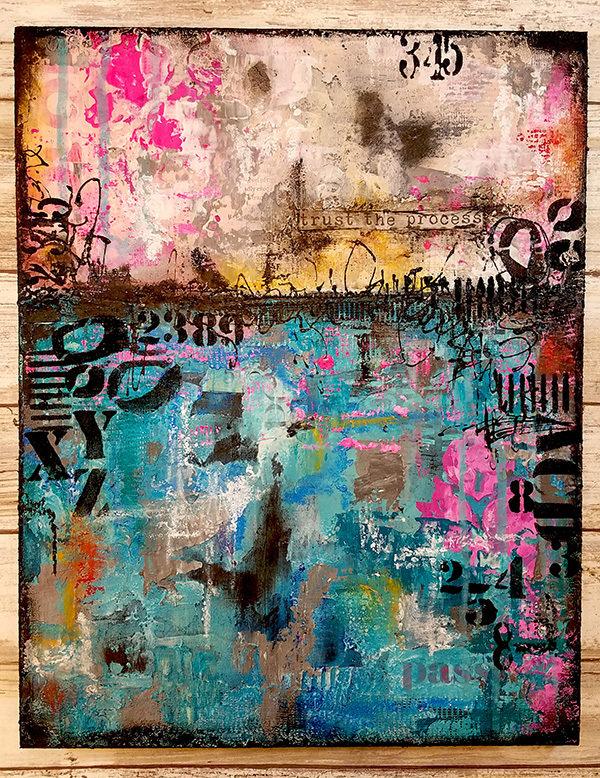 Trust the process mixed media abstract original 11x14