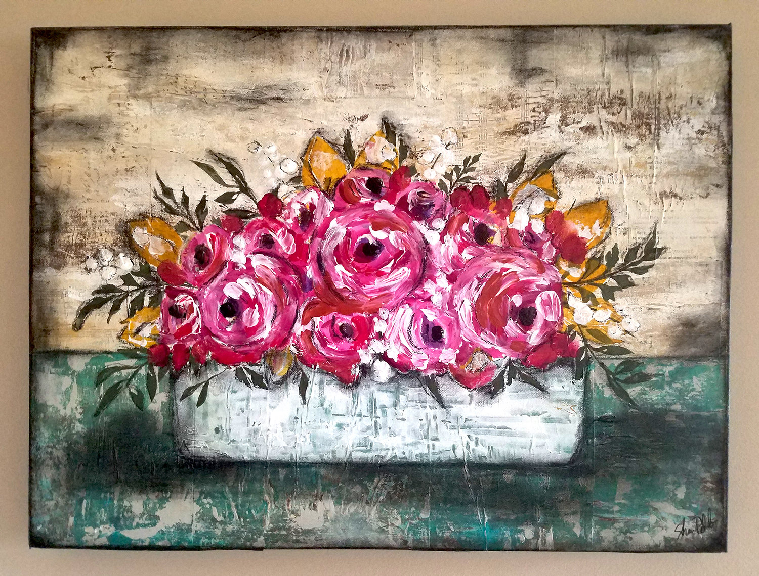 Bright flower box 18x24 original