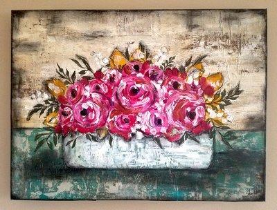 Bright flower box 18x24 original