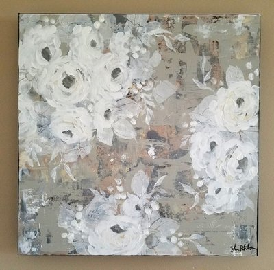 Soft white flower original 20x20 on gallery depth canvas